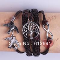 Braided PU Leather Bracelet Vintage alloy swallow infinity symbol 8 women bracelets & bangles jewelry LM-L044