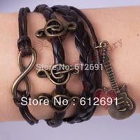 Braided PU Leather Bracelet Vintage guitar music notation infinity symbol 8 women bracelets & bangles jewelry LM-L046