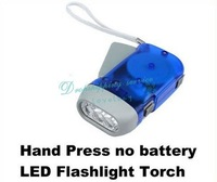 Hand Press no battery Wind Crank 3 LED Flashlight Torch Hot Drop Shipping/Free Shipping