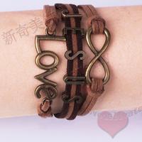 LM-L023 Antique bronze color Sideways Charm Love Infinity Jesus Braided Brown Leather Bracelet Wristbands