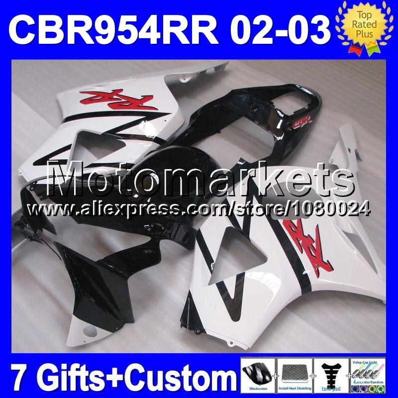 7gifts HOT For Factory white HONDA CBR954RR 02 03 CBR900RR MK6711 CBR 954 954RR Black CBR954 RR 2002 2003 CBR900 900RR Fairing(China (Mainland))