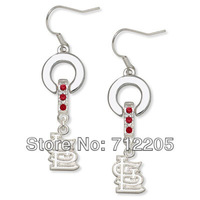 free shipping  fashion 20pair a lot  St Louis Cardinals Charm Earrings with red crystal(E102802)