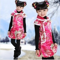 Winter child tang suit wadded jacket female child tang suit cheongsam tank baby cotton cheongsam dress