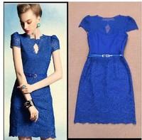 Free Shipping European ladies' cutout gauze embroidery lace dress fashion slim plus size dress(Blue;Black;White)131219#16