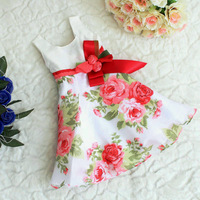 Free Shipping New 2014 Summer children's clothing one-piece dresses gentle women tank dress peony pattern rose bow belt dresses