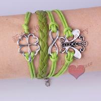 LM-L027 Infinity bracelet,handmade bracelet,love bracelet,Hot clover charm bracelet,gift for friend free shipping