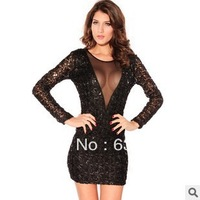 Wholesale trade new hot sexy long and deep V Sequin dress dress slim skirt 2614