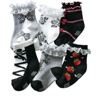 6 Pairs/Lot Cute Japanese Lace Decorate Cotton Baby Socks For Girls Non-Slip Kids Sock Free Shipping