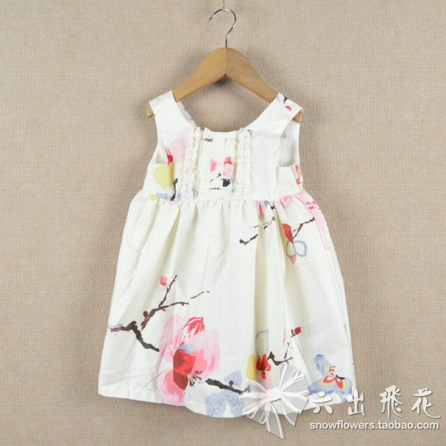 1lot=5pcs 2013 baby clothing cotton reversible ink painting traditional chinese painting print one-piece dress princess dress(China (Mainland))