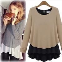 2013 new blusas femininas t shirt  tops fake two-piece high density thick stitching long sleeve chiffon shirt Blouses & Shirts