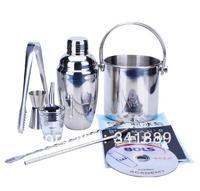 FREE SHIPPING,Stainless Steel shaker+Bucket+Tong+jigger+Pour Spot+Bar spoon+sucker+ice bag+bartender manual+mixed drink DVD,1SET