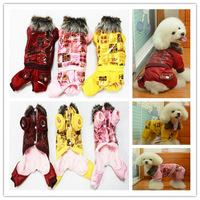 Warm Inside Fake Leather Pet Dog Clothing Fur Collar Overall Coat Puppy Clothes Winter Red / Pink / Yellow Color S-XXL size