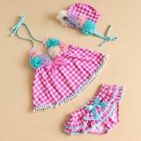 2013 child swimwear female child split swimsuit children baby flower little girl swimwear