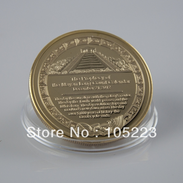 Hot sales+Free shipping 1 ounce 24K 999 gold plated the Prophecy of the mayan long-count calendar 2012 Commemorative Coin(China (Mainland))