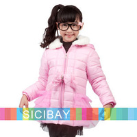 2014  Free Shipping Girl Winter Fashion Coats Kids Pink Bow Knot Design Outerwear K4203