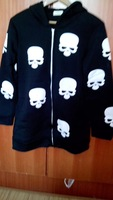 Black white skull print oversized regular thick long hooded girls outwear coat long sleeve woman for fall winter hoodies