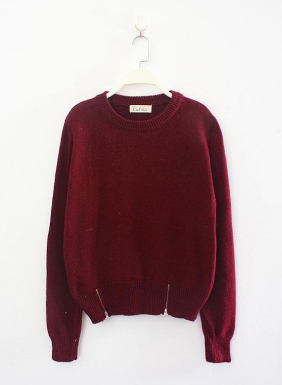 Sty nda elegant slim double zipper o-neck rabbit fur pullover sweater a237(China (Mainland))