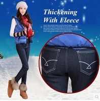 High Waist Velvet Jeans Woman Winter Thickening Pencil Pants Woman  Skinny  Boot CutJeans Plus Size 26-34 PT-076