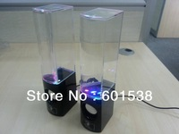 Dancing Water Speaker Portable LED Fountain Music Soundbox Colorful Water-drop Speaker for iPhone PC MP3/4 Free 60pairs/lot