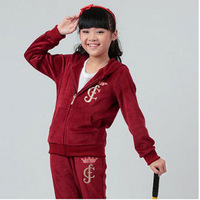 Girls Children Clothing Set Velour Suit  Long Sleeve Hooded Tops Soft Pants Free Shipping K4502