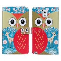 Wallet Style Owl Pattern Leather Case with Card Slots for Samsung Galaxy Note 3 N9000  Free Shipping