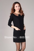 Plus size clothing 2013 one-piece dress/long sweater pullover