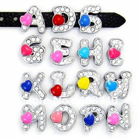 """8MM Heart Slide Letters """"A-M Can Choose Each Letters """"  (20 pieces/lot)  Fit DIY Wristband & Bracelet  Free Shipping"""
