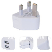 White 2 port Dual usb 2A USB uk Plug Wall Charger for Tablet pc & Mobile phone