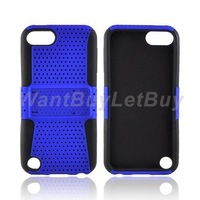 Kickstand Perforated Hard Plastic and Silicone Skin Case with Build-in Kickstand for iPod Touch 5 Free Shipping