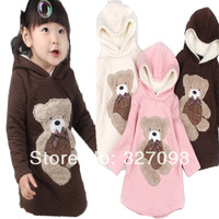 Free Shipping Retail 2013 New Design Embroidered Winnie The Winter Plus Velvet Lined Hooded Girl Dress 2 Color Terry Fabrics