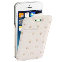 Ostrich Skin Texture Vertical Flip Leather Case for iPhone 5 / 5S (White)