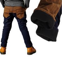 Stock Retail New Design Fleece Lining Warm Winter Harem Pants Kids Patchwork Fashion Faux Fur Boys Trousers Free shipping