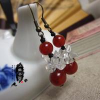 Handmade chinese vintage gemstone sterling silver 925 jewelry  style accessories natural agate crystal broken earrings