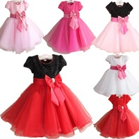 Free Delivery Stock Retail Girls Sequined Dress With Belt Bow Princess Dress 6 colors Fashion Dress Party Prom Dresses