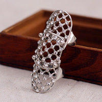 Fashion Alloy Double Ring With Lots Of Hollow Prismatic JZ-74846