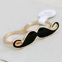 Lovely Fashion Alloy Black Moustache Double Fingers Rings Wholesale JZ-74841