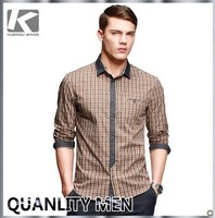 Free Shipping Men's Brand New 100%Cotton Long-sleeve Shirts, Fashion Plaid Stylish With Changing Collar For Men, Top Quality