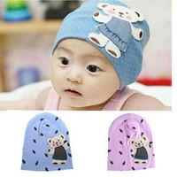 1PC New Lovely Sky Blue/Pink Baby Children Kid Cap Cute Bear Cartoon Pattern Dot Knitted Hat, Free & Drop Shipping