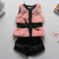 2014 New Spring  girls Boutique thicken fur vest Children Kids High-grade fur vest +Leather  Hot Pants 2pcs/set