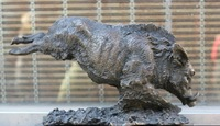 12'' Signed Exquisite Marble Base Bronze Statue Ferocious wild boar Sculpture