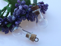 5 pcs 24X14MM Small Bulb with ring corks,DIY wishing bottle,Fragrance bottle pendant,essential oil bottle pendant