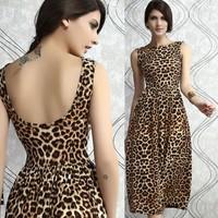 Fashion leopard print fashion tank dress midguts prom evening dress racerback expansion bottom one-piece dress