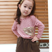 2013 female child autumn one-piece dress baby children's clothing polka dot skirt princess dress