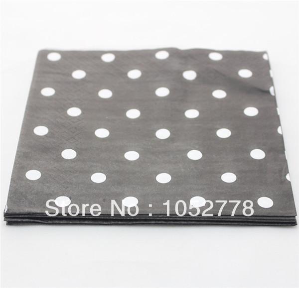 1500 PCS Black Polka Dot Fold Paper Napkins For Party Decoration Free SHipping(China (Mainland))