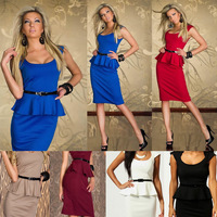 6 Colors 2013 New Fashion Women Black and White Knee Length Peplum Bodycon OL Office Lady Casual Dress with Belt 9052