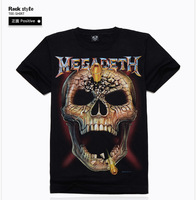 Free Shipping MEGADETH 3D T Shirt 2014 New Brand Men Rock Hip hop T-Shirt Mens Casual Clothing European American style Tee Shirt