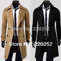 2014 New fashion long pattern thickening Cashere COAT Mens OUTWEAR Woolen Slim Over Coat MEN WINTER COATS  Long Wool Blend Coat