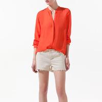 Autumn new fashion womens' chiffon Rivet shoulder OL style simple casual blouse Blue/orange shirt long sleeve elegant