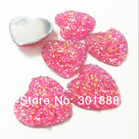 FEDEX Free,Wholesale 50pcs/LOT,25mm Valentine's Day shining Heart Resin Cabochon Flatbacks Hair Bow Center Crafts,YCB399