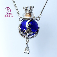 1pc Murano Glass Essential Oil Bottle Pendant Necklace(Assorted Colors),Perfume Bottle Necklace,Aroma diffuser necklace